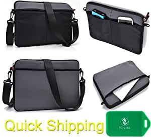 "2 in 1 neoprene sleeve/messenger bag-Accessory pockets- Shoulder strap included- Charcoal Grey & Black fits Hipstreet Flash 8"" HS-8DTB"