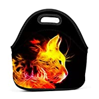 Flame Cat Insulated Neoprene Lunch Bag for Men Women and Kids - Reusable Soft Lunch Box for Work and School Water-Resistant 3D Printed