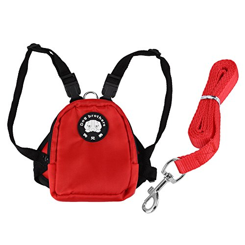 GLOGLOW 2 Sizes 3 Colors Small Dog Backpack, Pet Carrier Backpack Snack Storage Bag Harness with Lead Leash for Outdoor Travel Camping Training(Red - Harness Storage