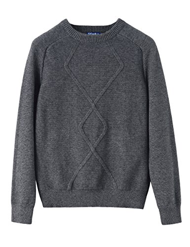 Drop Neck Sweater (Sfanka Women's Crew Neck Drop Shoulder Cozy Cable Sweater Jumpers Gray-S)