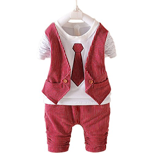 Toddler Boys Clothing Set Striped Fake Vest Shirt Pants Party Birthday Christmas Outfits Red