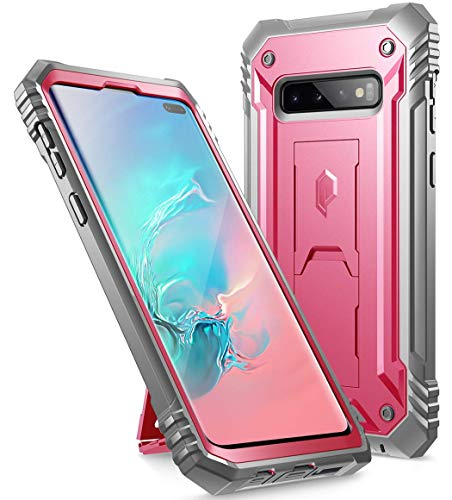 Galaxy S10 Plus Rugged Case with Kickstand, Poetic Heavy Duty Military Grade Full Body Cover, Without Built-in-Screen Protector, Revolution Series, for Samsung Galaxy S10+ Plus 6.4 Inch (2019), Pink