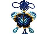 Feng Shui Decor KNOT LOVE Chinese Knot Tassels with Butterfly Good Luck Charm Home Hanging Ornament (Blue)