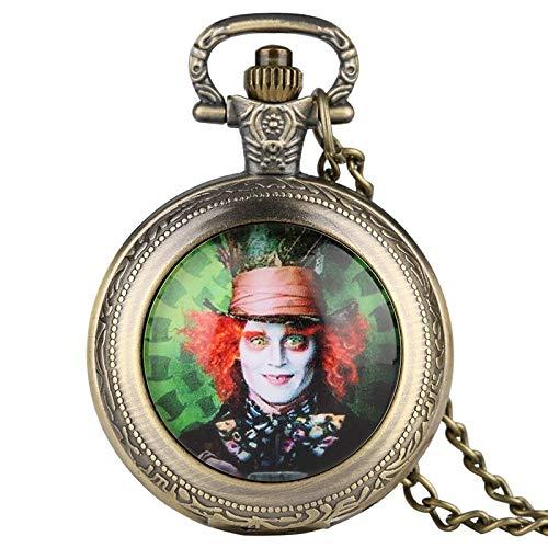 Alice in Wonderland Themed Necklace Mad Hatter Pattern Quartz Pocket Watch |Famous Men Clock Pendant |Gift for Men Women