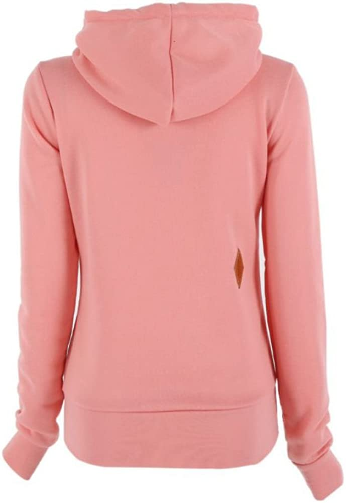 Shouhengda Womens Pink Long Sleeve Sweatshirt Pullover Hoodies with Zipper Sweater