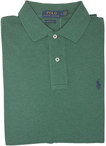 Polo Ralph Lauren Classic Fit Mesh Pony Logo Polo Shirt (Large, Green Heather)