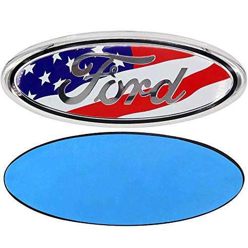 (FORD 7 Inch Front Grille Tailgate Emblem, 3D Oval 3M Double Side Adhesive Tape Sticker Badge for Ford Escape Excursion Expedition Freestyle F-150 F-250 F350 (American Flag))