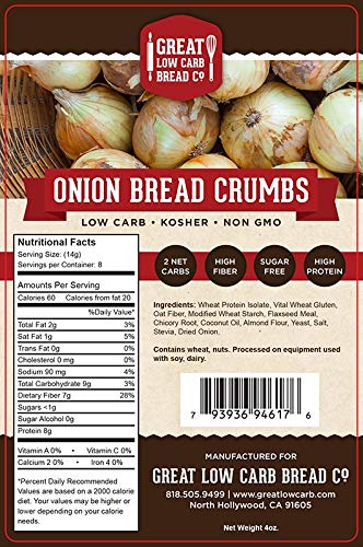 Amazon Com Great Low Carb Bread Co Low Carb Onion Bread Crumbs 4 Oz Keto Friendly Grocery Gourmet Food