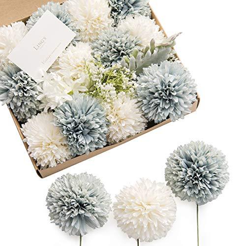(Ling's moment Vintage Blue & White Chrysanthemum Ball Artificial Flowers Box Set for DIY Wedding Bouquets Centerpieces Arrangements Party Baby Shower Home Decorations)