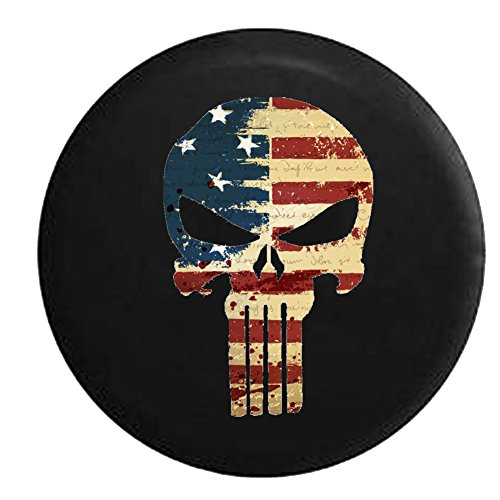American Flag Tattered Distressed Tactical Stars & Stripes Punisher Skull Spare Jeep Wrangler Camper SUV Tire Cover 33 in