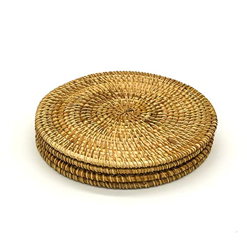 Placemat Pads - Trivets For Hot Dishes - Woven Rattan Trivets Hot Pads For Dinning Table,kitchen Heat Resistant Straw Dish Coasters Placemats Pot Holder (7.08 Inch)