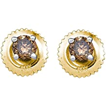 Brown Diamond Stud Earrings 10k Yellow Gold Round Studs Small Solitaires Chocolate Screwback 1/4 Cttw