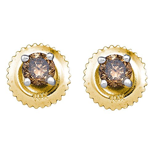 10K Yellow Gold Solitaire Shape Studs Prong Set Chocolate Brown Diamond Earrings 1 4 cttw.