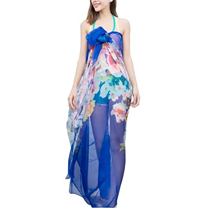 afd3cb8bfc Amazon.com: LerBen Women Sexy Summer Swimwear Sarong Dress Wrap Beach Cover  Up Scarf: Sports & Outdoors