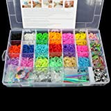 OrangeTag OrangeTag™ 2200 Colourful Rainbow Rubber Loom Bands Bracelet Making Kit Set with a Convenient Carrying Case