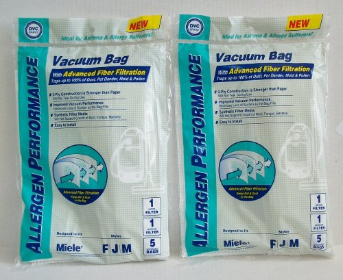 10 DVC Allergen Performance Miele FJM Vacuum Cleaner 3-ply Bags + 4 Filters
