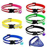 6 Pcs Cat Collar with Reflective Nylon Strip and Bell - Ideal Collars for Cats or Small Dogs(Extra Bonus: 1 Pcs Gem Blue Scarf)