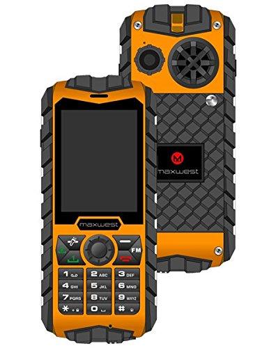 Rugged Cell Phone Unlocked 2G GSM Waterproof Shockproof Maxwest Ranger  Flashlight Military Grade IP68 Certified (Orange)