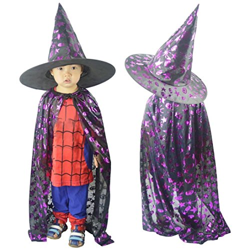 (Sikye Halloween Baby Costume,Toddler Girl Boy's Wizard Witch Cloak Robe with Hat Cosplay Outfit Set (Purple,)