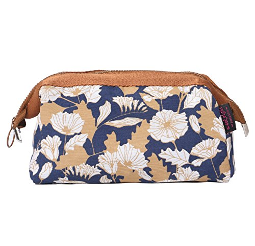 BAGOOE Handy Travel Cosmetic Makeup Clutch Bag Case Pouch Nylon Zipper Carry On Bag Various Colors For Women Men Girls, Brown - Sunglasses Daisy Review