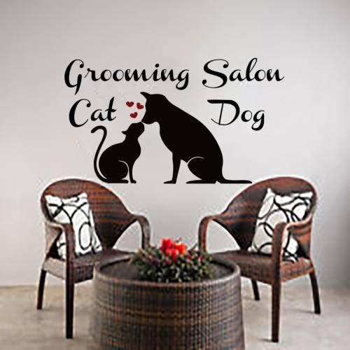 Wall Decals Dog Cat Grooming Salon Decal Vinyl Sticker Pet Shop Heart Home Decor Interior Design Bedroom Window Hall Art Mural (Cat Grooming Pictures)