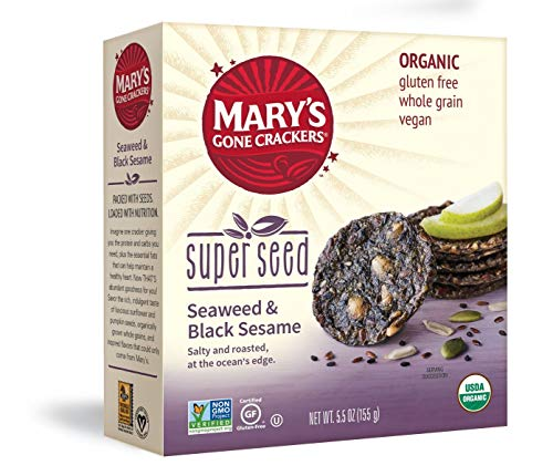 (Mary's Gone Crackers Super Seed Crackers, 5g of Organic Plant Based Protein, Gluten Free, Seaweed & Black Sesame, 5.5 Ounce (Pack of 1))