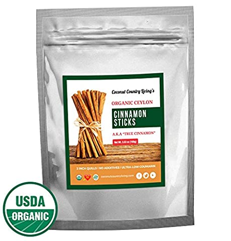 Organic True Ceylon Cinnamon Sticks 3.5 oz for Culinary & Medicinal Use, COMPLIMENTARY E-BOOK Recipes & Crafts, Great Gourmet Taste, Freshly Harvested & Packed in Sri - Cinnamon Organic Sugar