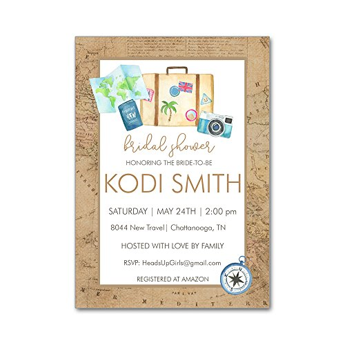 Set of 12 Personalized Bridal Wedding Shower Invitations and Envelopes with Watercolor Travel Maps Luggage Camera Destination - Invitation Wedding Maps