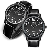Leather Pair Couples Watches Easy Reader Quartz Analog 30M Water Resistance for Men and Women Wrist Watch