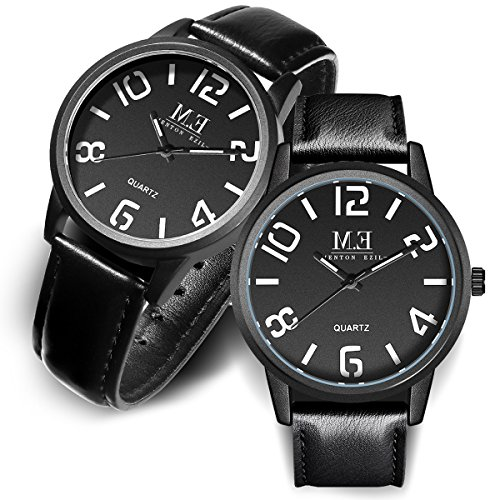 Valentines-Gift-for-Couple-Watches-Leather-Strap-30M-Water-Resistant-Analog-Quartz-Round-Dial-Wist-Watch-for-His-and-Hers