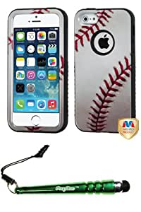 FoxyCase(TM) FREE stylus AND APPLE iPhone 5s Baseball-Sports Collection Black VERGE Hybrid Protector Cover cas couverture