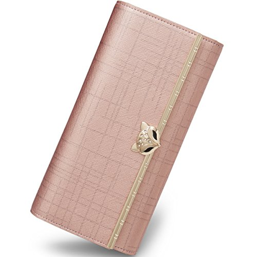 FOXER Women Leather Wallet Trifold Wallet Long Clutch Wallet Card Holder Valentine's Day Gifts