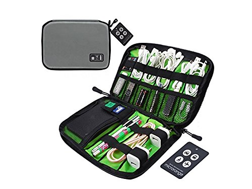 OVIIVO Memory Cases Travel Organizer Bag Electronics Accessories Bag Phone Charger Case for Electronic Computer Accessories USB Cables Power Banks Hard Disk (Light Grey) by OVIIVO