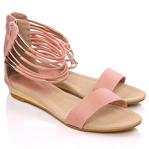 Unze Ashv' Ladies Womens Casual Flat Sandal Strappy Design and Covered Heel - 2L2119-7