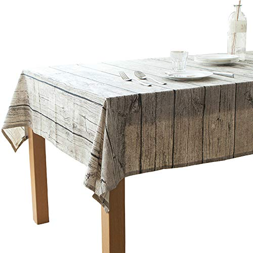Elome Washable Cotton Linen Vintage Wooden Grain Pattern Rectangle Tablecloth Dinner Picnic Table Cloth Home Decoration Assorted Size (36 Inch x 36 Inch)