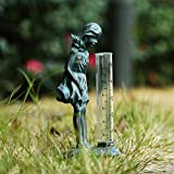 A Ting Garden Rain Gauge Decor Lady Girl Rain Gauge Stake with Plastic Udometer
