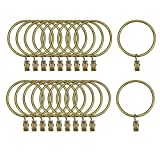 uxcell Curtain Rings with Clips Strong Decorative Metal Drapery Shower Rustproof 2.48'' Interior Diameter 20 Pack Bronze Tone