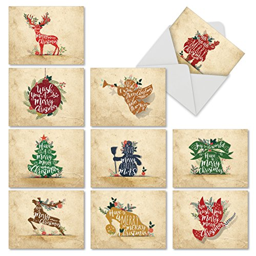 M6666XSG Holiday Knockout: 10 Assorted Christmas Note Cards Featuring Christmas Words and Phrases in WhiteType on Solid Holiday Icons, w/White Envelopes.