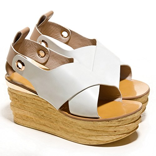 AmoonyFashion Womens Pull On Open Toe High Heels Cow Leather Solid Sandals White D4MSUY