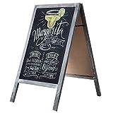 Vintage Style Wood A-Frame Chalkboard Sign, Gray Washed Blackboard Menu Signage