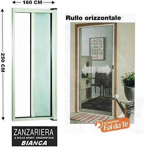 Mosquitera con rodillo de aluminio, para puertas y balcones, regulable, carrete horizontal, de 160 x 250 cm, color blanco: Amazon.es: Hogar