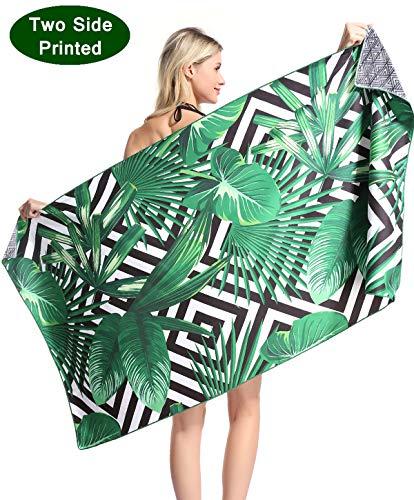 Tropical Microfiber Pool Beach Towel - Quick Fast Drying Lightweight Sand Free Outdoor Travel Rack Swim Micro Fiber Blanket Thin Yoga Mat Personalized Girls Women Men Adults Body Funny Hawaii Palm ()