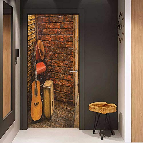 Front Door Sticker Music Music Instruments on Wooden Stage in Pub Beverage Cafe Counter Bar for Home Decor W35.4 x H78.7 Dark Orange Amber Sand Brown