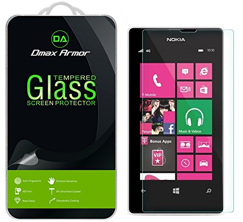 Dmax Armor for Nokia Lumia 521 Screen Protector, [Tempered Glass] 0.3mm 9H Hardness, Anti-Scratch, Anti-Fingerprint, Bubble Free, Ultra-Clear (Nokia 521 Screen Replacement)
