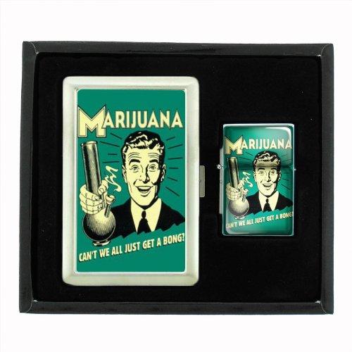 Marijuana Get A Bong Funny Cigarette Case and Oil Lighter Gift Set D-551