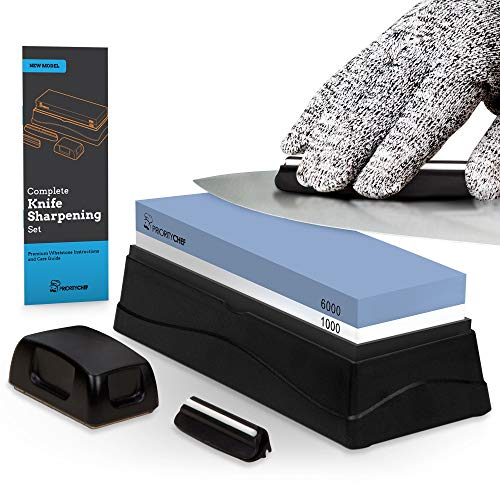 PriorityChef Whetstone Knife Sharpening Stone Bundle, 1000/6000 Grit, 2 Knife Guides for Easy Sharpening, Flattening Stone and 1 Level 5 Cut Resistant Glove
