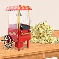 ZHU Mini Hot Air Pop Corn Maker Cart Popper Machine Tabletop Vintage Home Movie Red