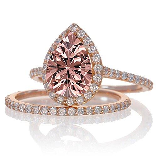 2 Carat Morganite and Diamond Halo Bridal Ring Set on 10k Rose Gold