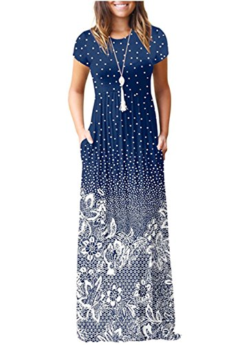VIVOSKY Women's Sleeveless/Short Sleeve Maxi Dress Floral Print Causal Long Dress with ()