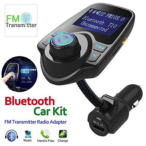Purpplex Wireless Bluetooth FM Transmitter Radio Adapter Hands-Free Car Kit USB Charger - Black